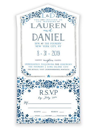 Heirloom Frame All-in-One Wedding Invitations