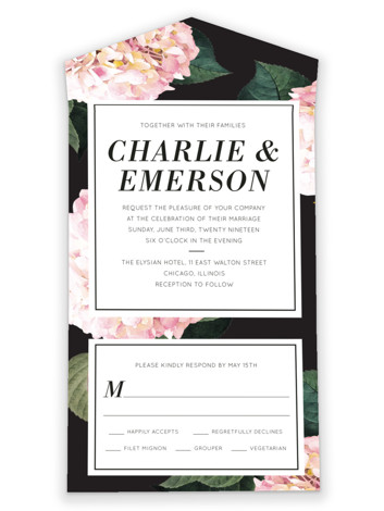 Peonie Party All-in-One Wedding Invitations