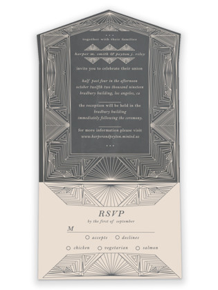 Art Deco Frame All-in-One Wedding Invitations