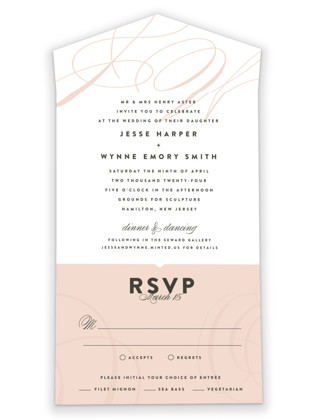 photo of Twirl Monogram A All In One Wedding Invitations