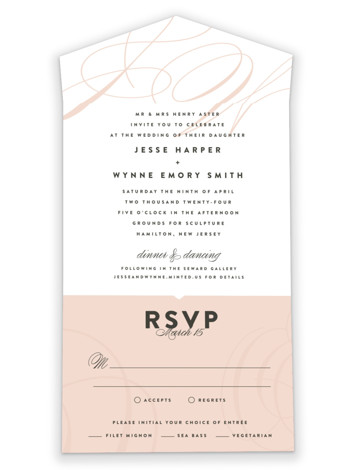 Twirl Monogram A All-in-One Wedding Invitations