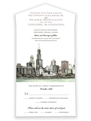 Windy City All-in-One Wedding Invitations