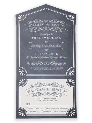 Chalkboard New Year All-in-One Wedding Invitations