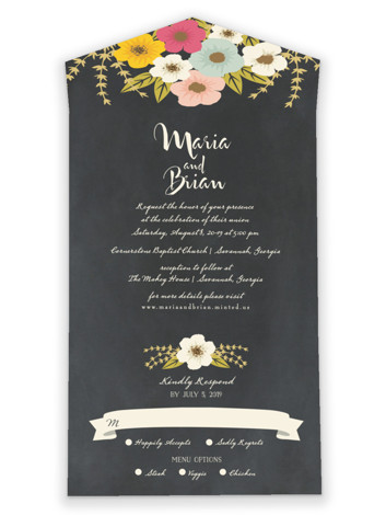 Plentiful Blossoms All-in-One Wedding Invitations