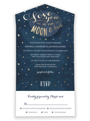 Love you to the Moon and Back All-in-One Wedding Invitations