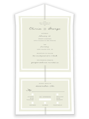 Three Classic Lines All-in-One Wedding Invitations