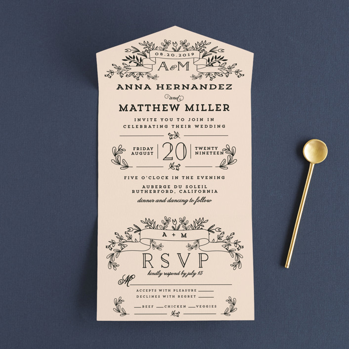 """""""Wedding Bouquet"""" - Customizable All-in-one Wedding Invitations in Pink by  Chris Griffith."""