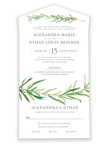 Simple Sprigs All-in-One Wedding Invitations