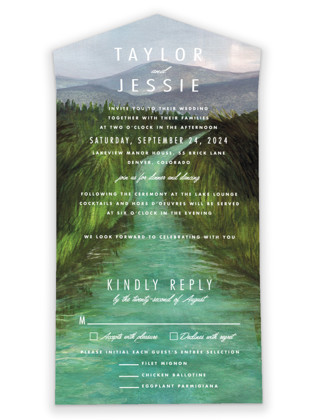 photo of Adventure Begins All In One Wedding Invitations