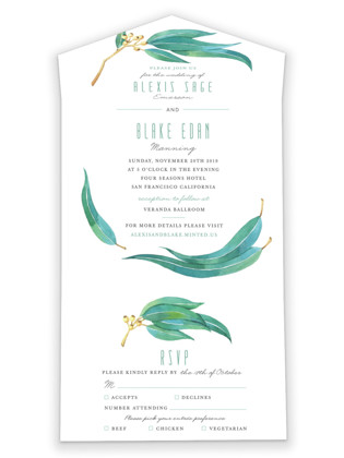 Eucalyptus Leaves All-in-One Wedding Invitations