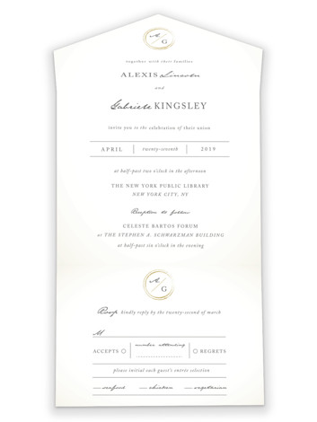 Monogram Circle Stamp All-in-One Wedding Invitations