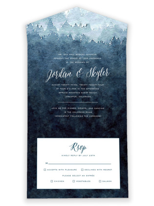 Mountain Retreat All-in-One Wedding Invitations