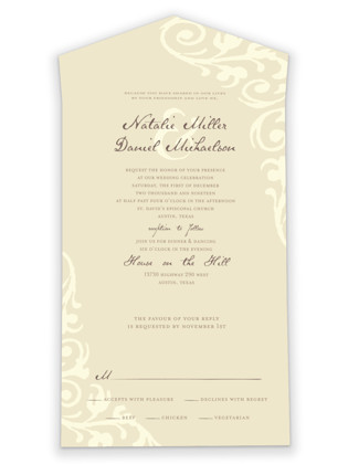 Elegant Flourish All-in-One Wedding Invitations