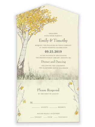 Fall Tranquility All-in-One Wedding Invitations