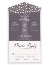 This is a purple all in one wedding invitation by Hooray Creative called Garden Lights with standard printing on strathmore in all-in-one.