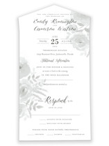 This is a grey all in one wedding invitation by Jill Means called Watercolor Floral with standard printing on value cover in all-in-one.
