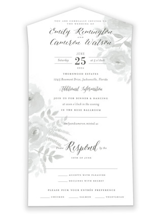 Watercolor Floral All-in-One Wedding Invitations