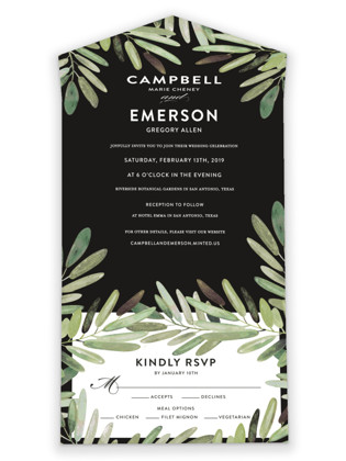 Parting Branches All-in-One Wedding Invitations