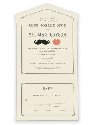 Stache + Kiss All-in-One Wedding Invitations