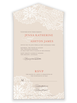 White Lace All-in-One Wedding Invitations