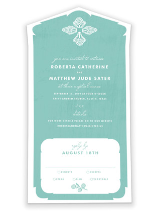 Blessed Lace All-in-One Wedding Invitations