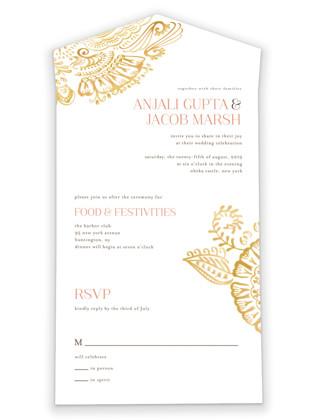 Modern Mehndi All-in-One Wedding Invitations