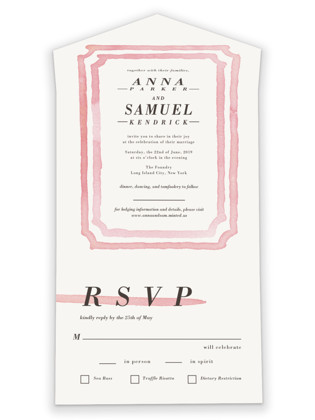 Watercolor Frame All-in-One Wedding Invitations