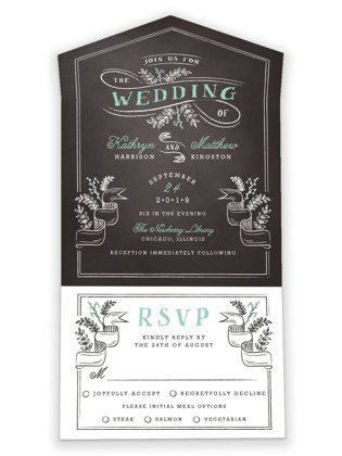 Floral Chalkboard All-in-One Wedding Invitations