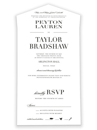 Classic All-in-One Wedding Invitations