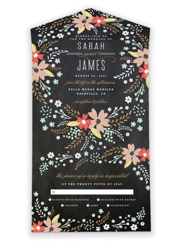 Chalkboard Floral All-in-One Wedding Invitations