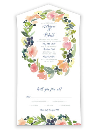 Watercolor Wreath All-in-One Wedding Invitations