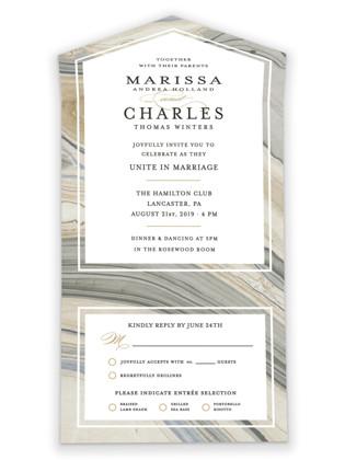 Elegant Marble All-in-One Wedding Invitations