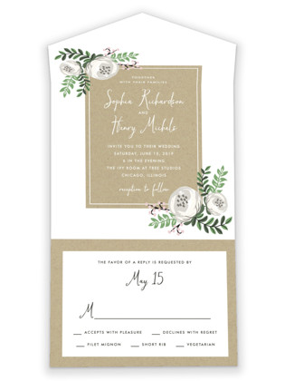 Krafted Florals All-in-One Wedding Invitations