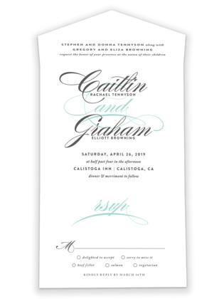 Cordial Flourish All-in-One Wedding Invitations