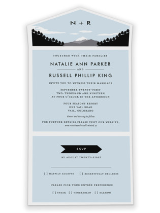 Holiday Mountain All-in-One Wedding Invitations