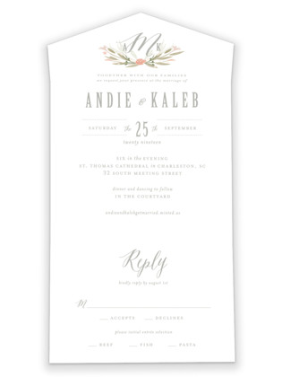 Monogram Floral All-in-One Wedding Invitations
