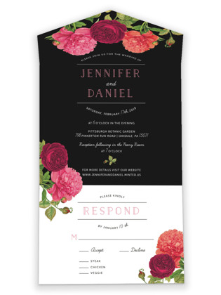 Romantic Botanic All-in-One Wedding Invitations