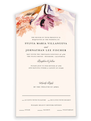 Grecian Floral All-in-One Wedding Invitations