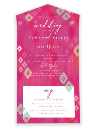 Boho Ikat All-in-One Wedding Invitations