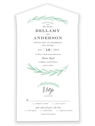 Painted Leaves All-in-One Wedding Invitations