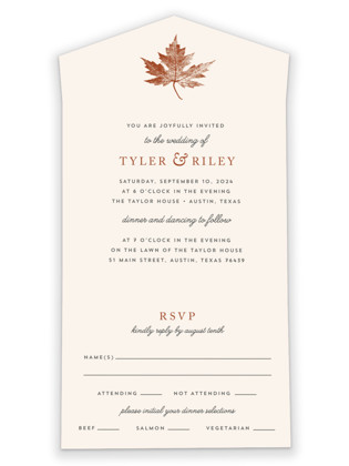 Leaf Print All-in-One Wedding Invitations