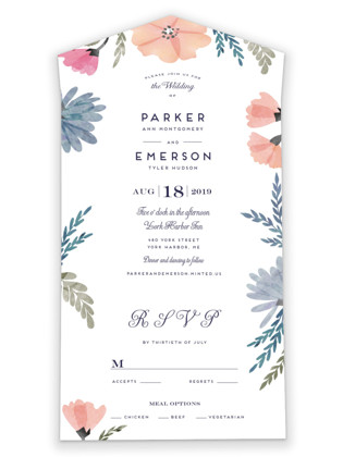 Romantic Watercolor Flora All-in-One Wedding Invitations