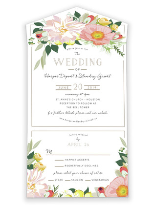 Spring Blooms All-in-One Wedding Invitations
