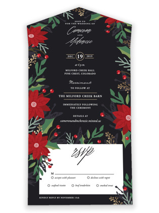 Poinsettia Garden All-in-One Wedding Invitations