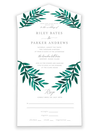 Painted Greenery All-in-One Wedding Invitations