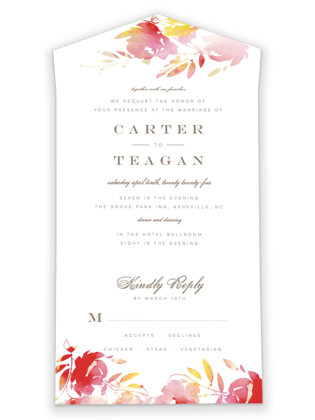 Stately Florals All-in-One Wedding Invitations