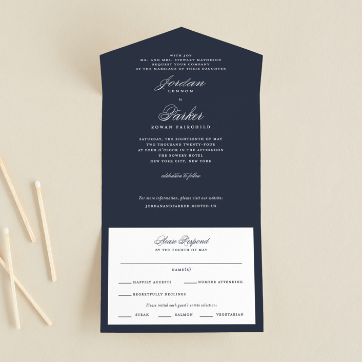 """""""Flawless"""" - Customizable All-in-one Wedding Invitations in Blue by  Kimberly FitzSimons."""