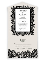 Modern Floral Frame All-in-One Wedding Invitations