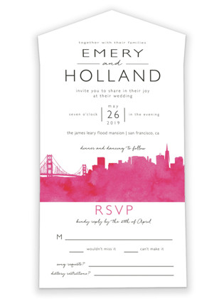 photo of Skyline San Francisco Wedding Invitations All In One Wedding Invitations
