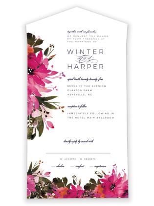 Peeking Florals All-in-One Wedding Invitations